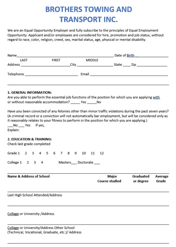 Application Form for Auto Transport Trucking Position at Brothers Towing & Transport Inc.